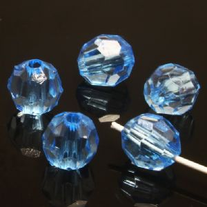 Beads, Imitation Crystal beads, Acrylic, blue, Faceted spherical, Diameter 8mm, 5g, 25 Beads, (SLZ0388)